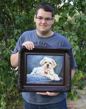 Aaron With Kleo - Watercolor Painting